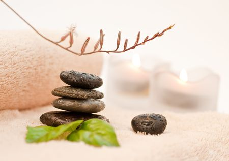 sone: Zen-like stones with water drops and green leafs Stock Photo