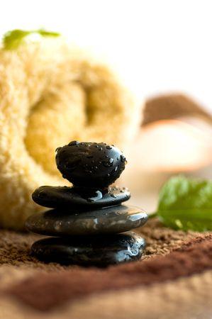 beautycare: Zen like SPA with black stones in order Stock Photo