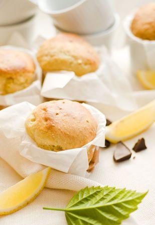Mini cakes with lemon and dark chocolate Stock Photo - 7000686