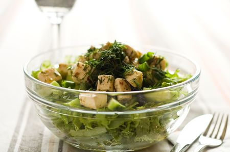 Spring green salad with homemade cheese Standard-Bild