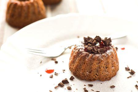 Mini cake with strawberry jam and dark chocolate Stock Photo - 7009690