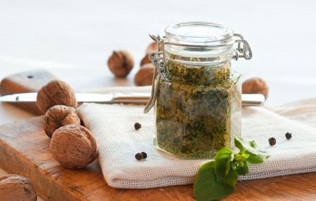 Homemade fresh pesto in jar