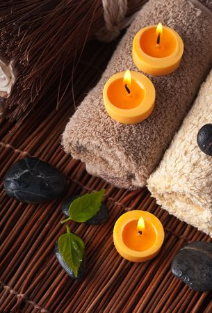 beautycare: Zen like SPA with candles background Stock Photo