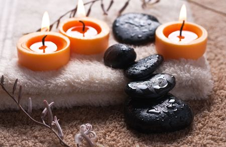 warm water: Zen like spa with black stones