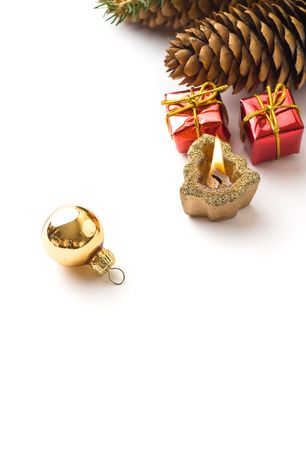 Christmas detail isolated on white with copyspace Stock Photo
