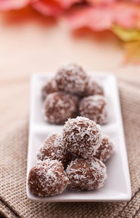 Homemade candies with coconut powder Stock Photo