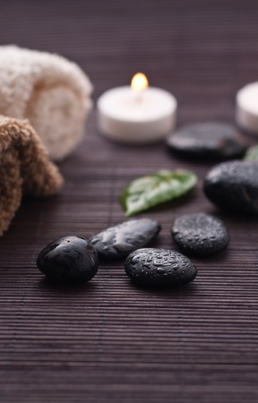 flame like: Zen-like spa detail with black stones