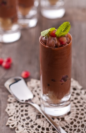 Chocolate mousse with pomegranate and mint Stock Photo - 8865882