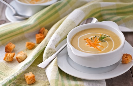 recipe decorated: Cream soup of peas, cream and cheddar cheese Stock Photo
