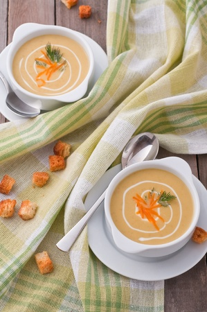 Cream soup of peas, cream and cheddar cheese photo