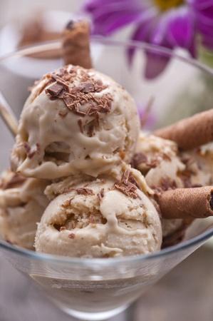 Vanilla ice cream with chocolate dust