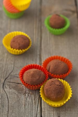 Homemade chocolate truffles with cocoa