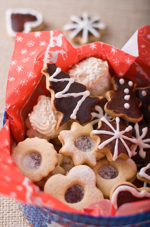 Different Christmas cookies in a box