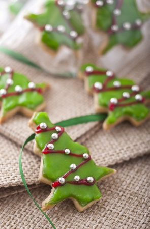 Decorated Christmas cookies like Christmas tree