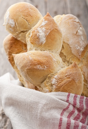 Homemade french bread on wood table Stock Photo