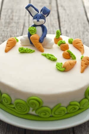 Homemade bunny cake with carrots