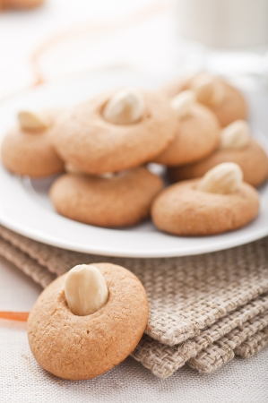 Peanut butter cookies with a cup of milk Stock Photo - 13936531