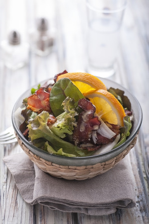 Bacon and lettuce salad on wood table Stock Photo