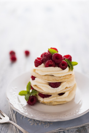 Raspberries mille feuille with fresh mint leafs Stock Photo