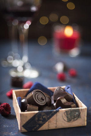 Homemade chocolate candies with red wine Stock Photo
