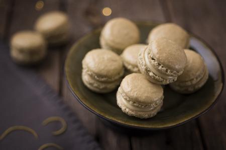 Matcha French Macaroons with lemon zest Stock Photo