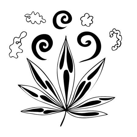 Black Cannabis leaf isolated illustration Banco de Imagens - 150451849