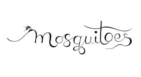 Lettering illustration Mosquitoes. Black on a white background