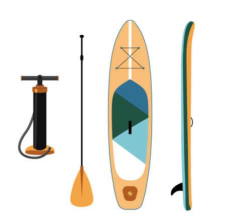 Inflatable sup board isolated illustration. Paddle board Vektorové ilustrace