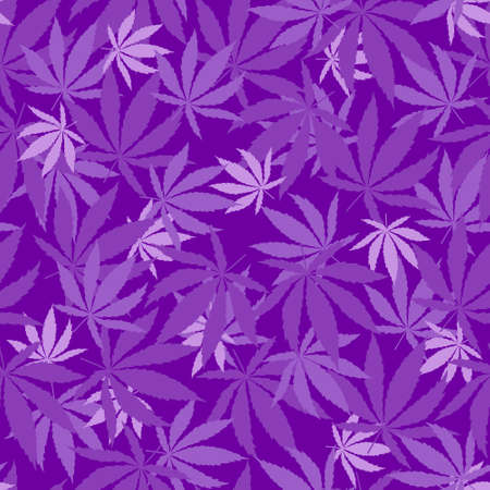 Purple leaves monochrome elegant seamless pattern of Cannabis