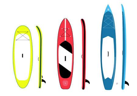 Paddle board set of shapes isolated illustration.