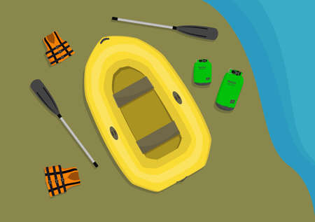 Inflatable boat and other necessary equipment for rafting laying on sand seashore.