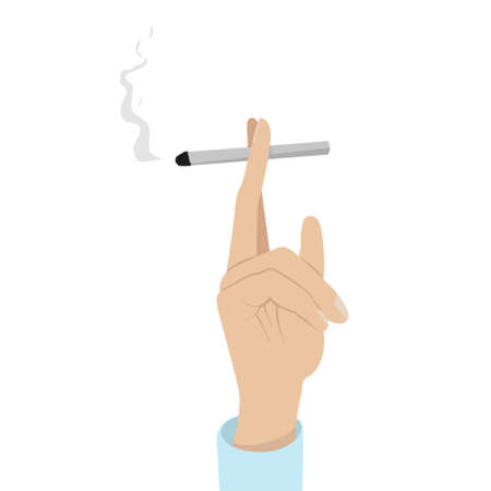 Hand with cigarette isolated illustration. Smoking weed