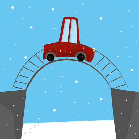 Cartoon car moving on the bridge across the river in winter. Christmas time. Romantic weather. Cozy family trip