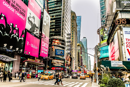 New York Broadway on Times Square Редакционное