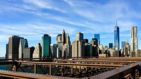 New York City skyline over Brooklyn Bridge