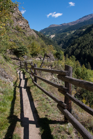 hiking path: Hiking path in Vinschgau, South Tyrol, Italy Stock Photo