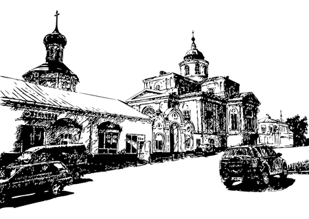 church bell: View from the street to the Church with a bell tower in the Empire style Illustration