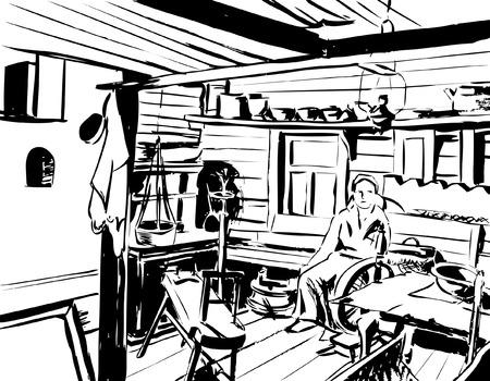 campesino: boh�o de madera con una estufa y utensilios en el banco de una mujer en un pa�uelo