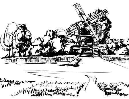 木製風車フィールドを介して、森の背景にそれへの道 写真素材 - 47380721
