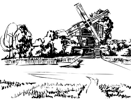 hoog gras: Wooden windmill on the background of the forest, through the field the road to it