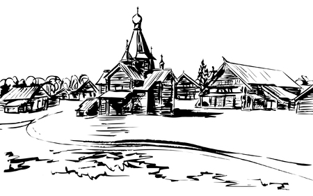domes: Wooden tent-roofed Church on a river with buildings around, one-storey and two-storey