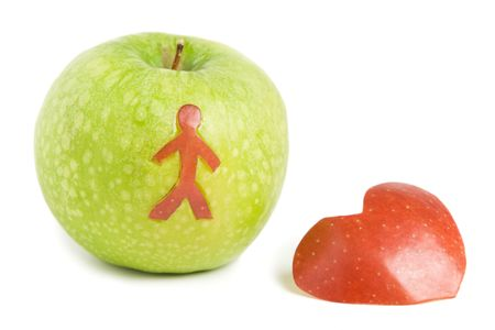inddor: Green apple with man silhouette and red heart