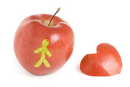 inddor: red apple and heart