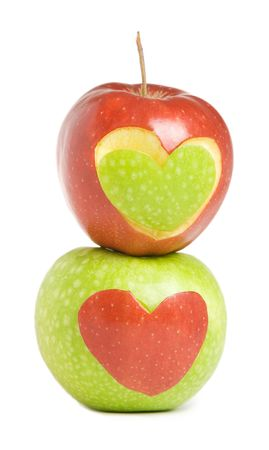 inddor: Two apples with heart silhouette