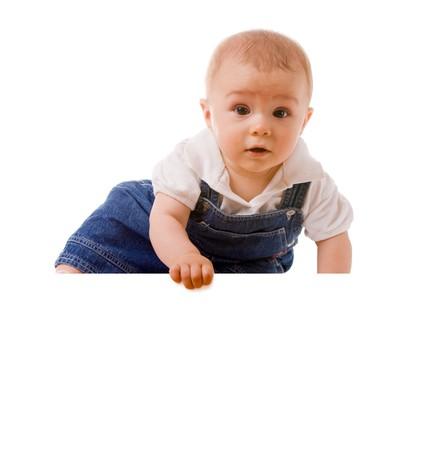 baby boy holding a message Standard-Bild