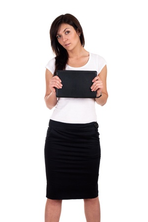 netbook: Portrait of successful business woman with laptop. Stock Photo
