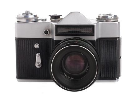 retro camera: Vintage SLR camera Stock Photo