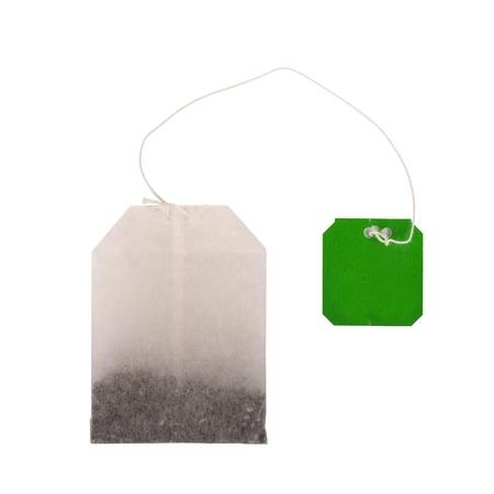 Tea bag on white background photo