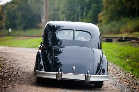 Zwarte vintage auto Stockfoto