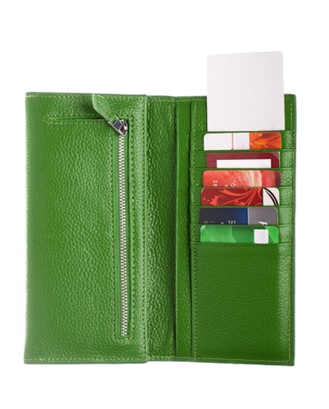 Open green leather wallet Stock Photo